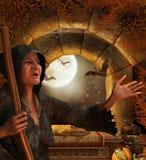 Bruxa em sua cabana Foto de Stock Royalty Free