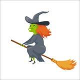 Bruxa em um broomstick ilustração stock
