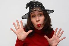 Bruxa em um chapéu fotos de stock