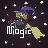 Bruxa em uma vassoura Imagem de Stock