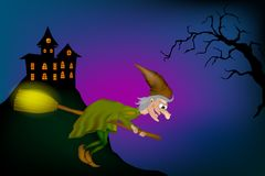 Bruxa engraçada dos desenhos animados ilustração royalty free