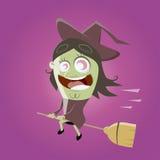 Bruxa engraçada dos desenhos animados Fotos de Stock Royalty Free