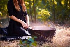 A bruxa enigmática da floresta na madeira verde fora imagem de stock