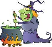 Bruxa feia de Halloween que prepara uma poção ilustração stock