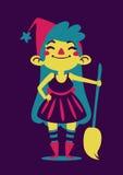 Bruxa feliz que guarda uma vassoura Ilustração Royalty Free