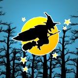 Bruxa no broomstick Imagens de Stock Royalty Free