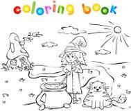 Bruxa que cozinha uma poção perto de uma casa do cogumelo Imagens de Stock Royalty Free