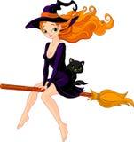 Bruxa que monta uma vassoura ilustração do vetor