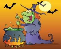 Bruxa que prepara uma poção na noite de Halloween ilustração royalty free
