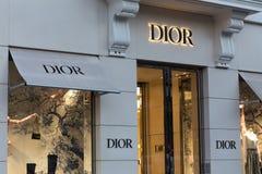 Bruxelas, Bruxelas/Bélgica - 13 12 18: a loja do dior assina dentro Bruxelas Bélgica fotografia de stock