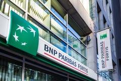 Bruxelas, Bruxelas/Bélgica - 12 12 18: os fortis de BNP Paribas depositam assinam dentro Bruxelas Bélgica fotografia de stock royalty free