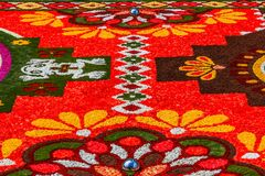 Bruxelas, Bélgica Tapete da flor no lugar grande imagens de stock royalty free