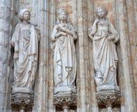 Bruxelas - detalhe do portal lateral da igreja gótico de Notre Dame du Sablon Fotografia de Stock