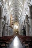 Bruxelas - Nave da catedral gótico de St Michael Foto de Stock