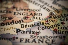 Bruxelas no mapa Fotografia de Stock