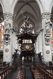 Bruxelas - púlpito barroco da catedral de S Fotografia de Stock