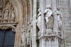 Bruxelas - portal principal de Notre Dame du Sablon Fotos de Stock Royalty Free