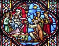 Bruxelas - três Magi na catedral do St. Michael s Fotos de Stock