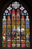 Bruxelas - windowpane da catedral de Michael de Saint Fotografia de Stock Royalty Free