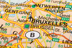Bruxelles. City on a road map stock photography
