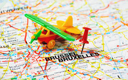 Bruxelles airplane Royalty Free Stock Images
