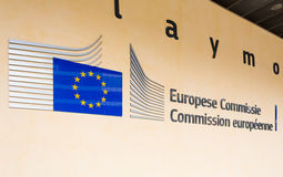 BRUXELLES, BELGIO - 9 AGOSTO 2014: Entrata edificio di Berlaymont Berlaymont alloggia le sedi della Commissione Europea Immagine Stock