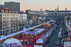 BRUXELLES, BELGIO - 5 dicembre 2016 - mercato di Natale del quadrato di Catherine del san Immagini Stock Libere da Diritti