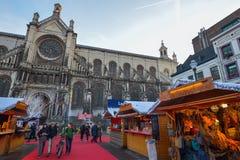 BRUXELLES, BELGIO - 5 dicembre 2016 - mercato di Natale del quadrato di Catherine del san Fotografie Stock Libere da Diritti