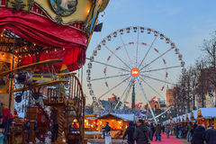 BRUXELLES, BELGIO - 5 dicembre 2016 - mercato di Natale del quadrato di Catherine del san Immagine Stock Libera da Diritti