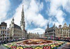 Bruxelles, Belgique - 19 août 2019 : Le tapis de fleur dans la place centrale de Bruxelles est consacré à Guanajuato une région m photographie stock libre de droits