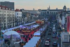 BRUXELLES, BELGIQUE - 5 décembre 2016 - marché de Noël de la place de Catherine de saint Images libres de droits