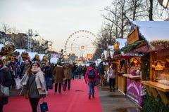 BRUXELLES, BELGIQUE - 5 décembre 2016 - marché de Noël de la place de Catherine de saint Photo stock