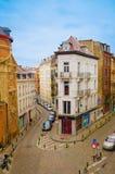 Bruxelles, Belgique, mai, 31, 2018 : Au-dessus de la vue du bâtiment, barre de cirque de le Bier sur la rue de l ` Enseignement,  Photos stock