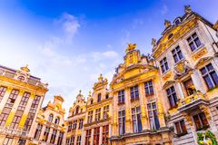 Bruxelles, Belgium. Night image with medieval architecture in Grand Place Grote Markt Stock Image