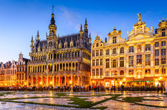 Bruxelles, Belgium - Grand Place. Brussels, Belgium. Wide angle night scene of the Grand Place and Maison du Roi, one of Europe finest historic squares and a Stock Photography