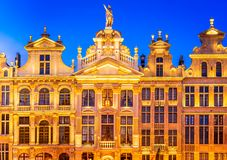 Bruxelles, Belgium. Night image with medieval architecture in Grand Place Grote Markt royalty free stock photos
