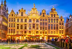 Bruxelles, Grand Place - Belgium. Bruxelles, Belgium. Night image with medieval architecture in Grand Place Grote Markt royalty free stock images