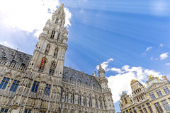 Bruxelles in Belgium. Town hall in Grand Place Grote Markt in Bruxelles, Belgium royalty free stock photography
