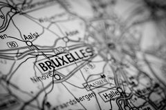 Bruxelles City on a Road Map Stock Photography