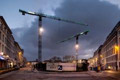 BRUXELLES - 1ER DÉCEMBRE 2017 : Chantier de construction dans Ixelles, Bruxelles Photos stock
