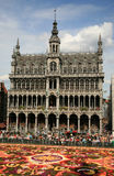 Bruxelles flower. View of town hall of bruxelles with flower carpet stock photography