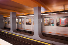 BRUXELLES - MAY 1, 2015: Subway station interior. The subway sys Stock Photos