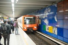 BRUXELLES - MAY 1, 2015: Subway station interior. The subway sys Stock Photo