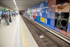 BRUXELLES - MAY 1, 2015: Subway station interior. The subway system covers a total of 39.9 kilometres.  stock image