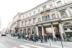BRUXELLES - MAY 1, 2015: Tourists and locals along city streets. Royalty Free Stock Photos