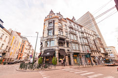 BRUXELLES - MAY 1, 2015: Tourists and locals along city streets. Royalty Free Stock Image