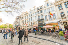 BRUXELLES - MAY 1, 2015: Tourists and locals along city streets. Royalty Free Stock Photography
