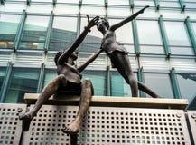Bruxelles, ONU. Bronze statue in ONU area, Bruxelles stock photography
