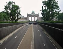 Bruxelles - Tunnel Cinquntenaire. Brussels, Belgium: June 16, 2006: The highway tunnel that crosses the Jubilee Park. In the background the Arc de Triomphe built Royalty Free Stock Photography
