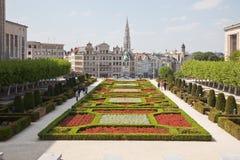 Bruxelles, vue de la ville inférieure de la montagne des arts Image stock